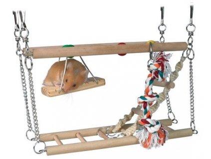 Houpačka do klece - dvě patra + hračky
