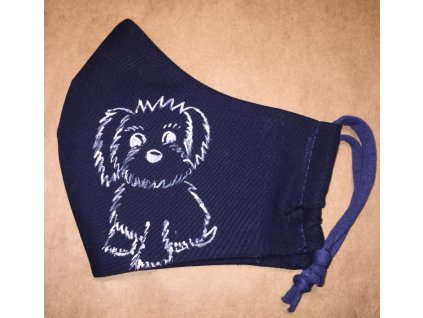 rouška malovaná pes střapatý