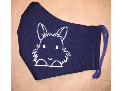 rouška malovaná modrá králík 1