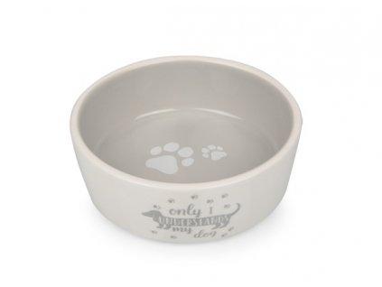 Keramická miska pro psy bílo šedá s jezevčíkem