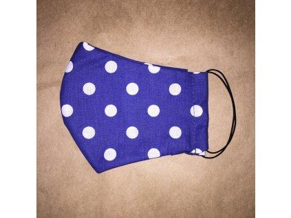modrá & bílý puntík