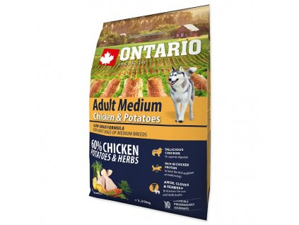 ONTARIO Dog Adult Medium Chicken & Potatoes & Herbs (2,25kg)