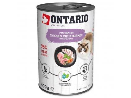 Konzerva ONTARIO Cat Chicken, Turkey, Salmon Oil (400g)