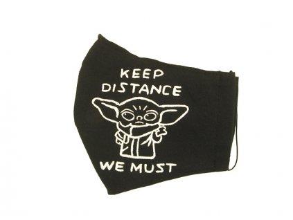 Rouška malovaná - Baby Yoda - Distance