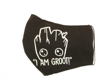 Rouška malovaná - Baby Groot - černá
