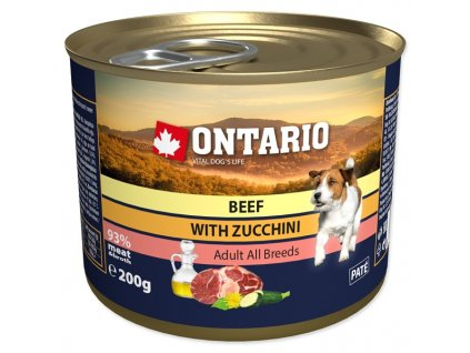 Konzerva ONTARIO Dog Mini Beef, Zucchini, Dandelion and Linseed Oil (200g)