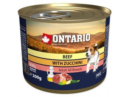 Konzerva ONTARIO Dog Mini s hovězím masem, cuketou a lněným olejem 200 g