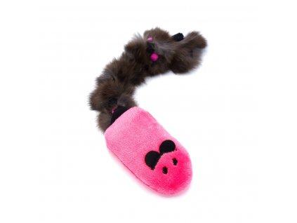 Myš s králičí kožešinou růžová