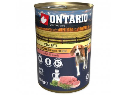Konzerva ONTARIO Dog Veal Pate Flavoured with Herbs
