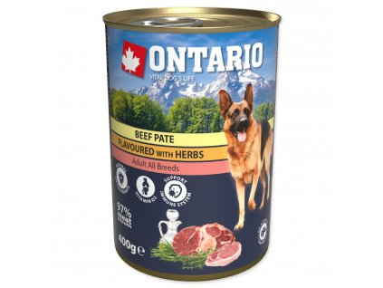 Konzerva ONTARIO Dog Beef Pate Flavoured with Herbs