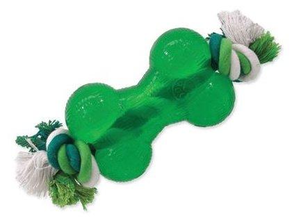 hracka dog fantasy strong mint kost guma s provazem zelena 13 9cm original