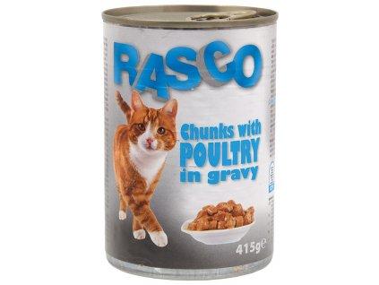Konzerva Rasco kočka drůbeží kousky ve šťávě 415 g
