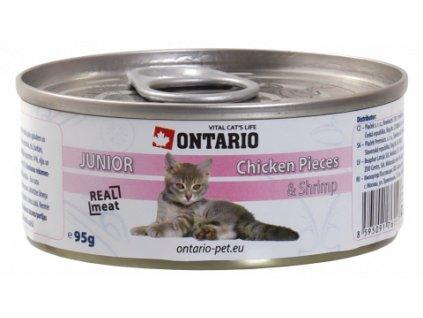ONTARIO konzerva junior Chicken Pieces + Shrimp 95 g