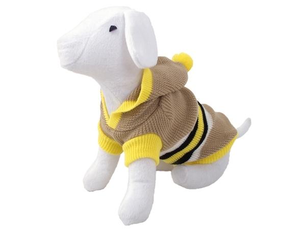 Svetr DOG FANTASY s kapucí a proužky béžový 20 cm