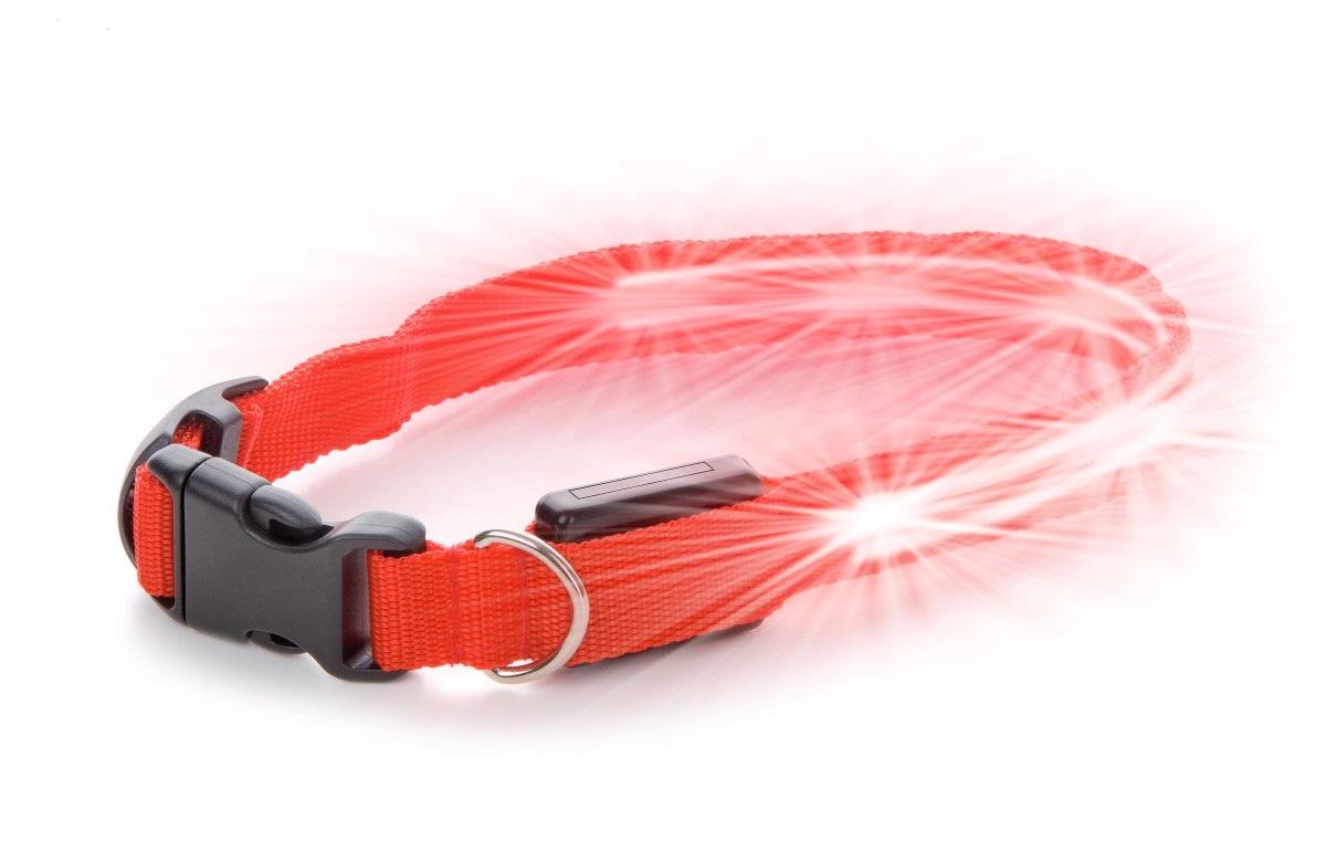 Nylonový LED obojek XS červený