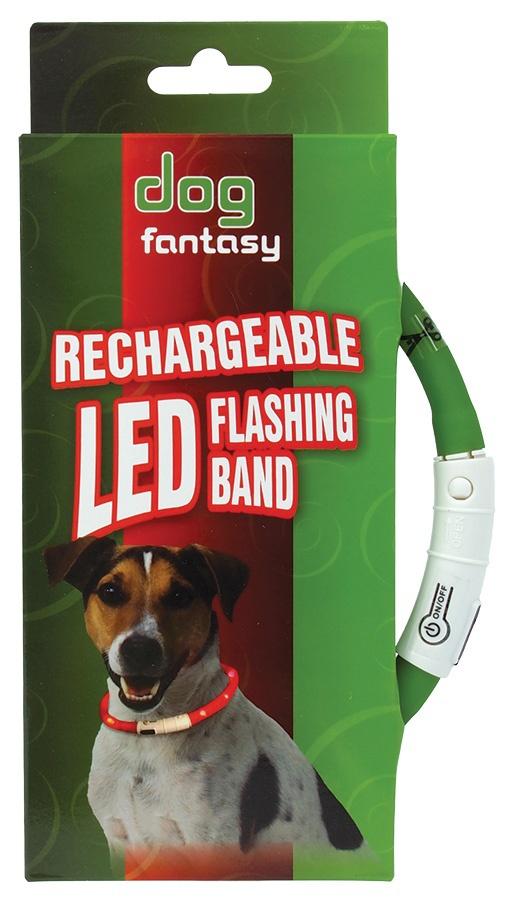 Obojek DOG FANTASY LED světelný zelený 45 cm