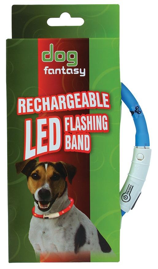 Obojek DOG FANTASY LED světelný světle modrý 45 cm