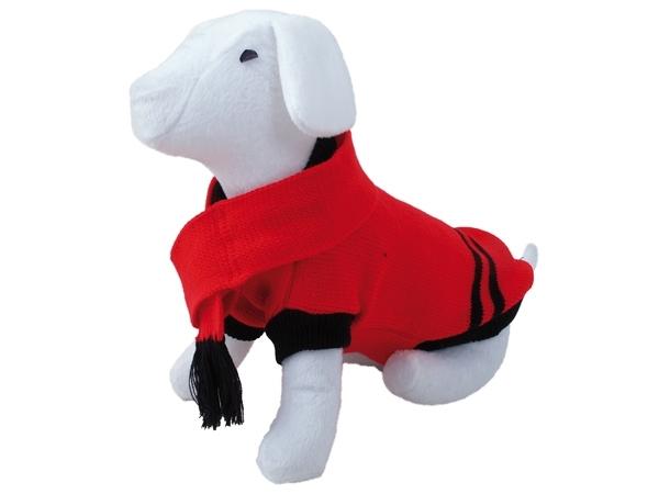 Svetr DOG FANTASY se šálou červený 35 cm