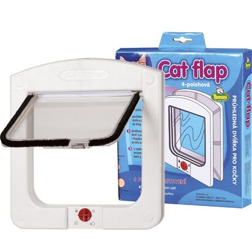 Cats Flaps 4 polohová průchozí dvířka pro kočky - bílá 15x15 cm