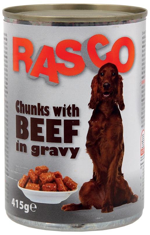 Konzerva Rasco pes hovězí kousky ve šťávě 415 g