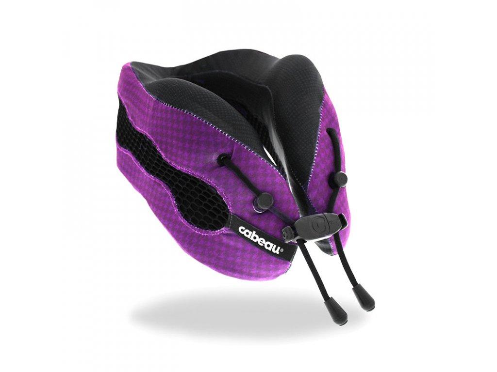Cabeau Evolution Cool Fialový cestovní polštář z paměťové pěny z úhlu