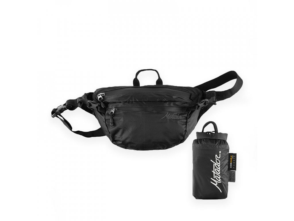 Matador černá skládací ledvinka Hip Pack s pouzdrem