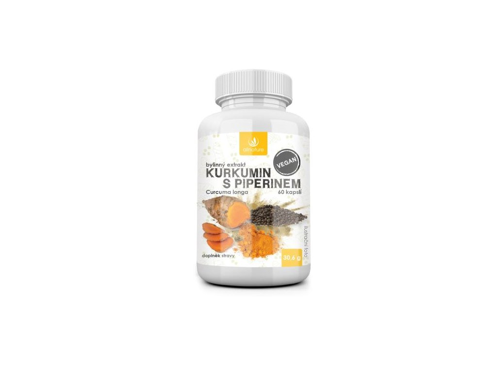 allnature kurkumin s piperinem bylinny extrakt 60 cps