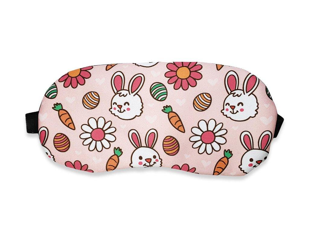 Maska na oči na spaní králík s mrkví růžová