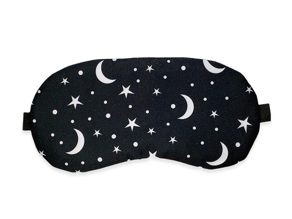Maska na oči na spaní měsíc a hvězdy černá