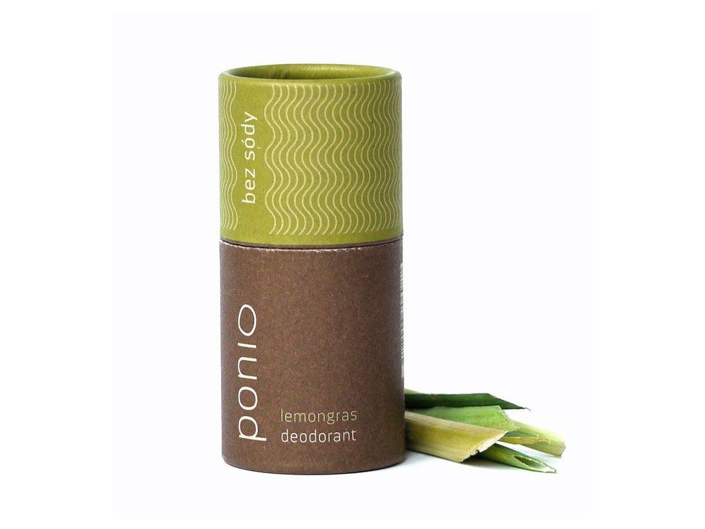 Ponio přírodní deodorant lemongras, sodafree, bílé pozadí