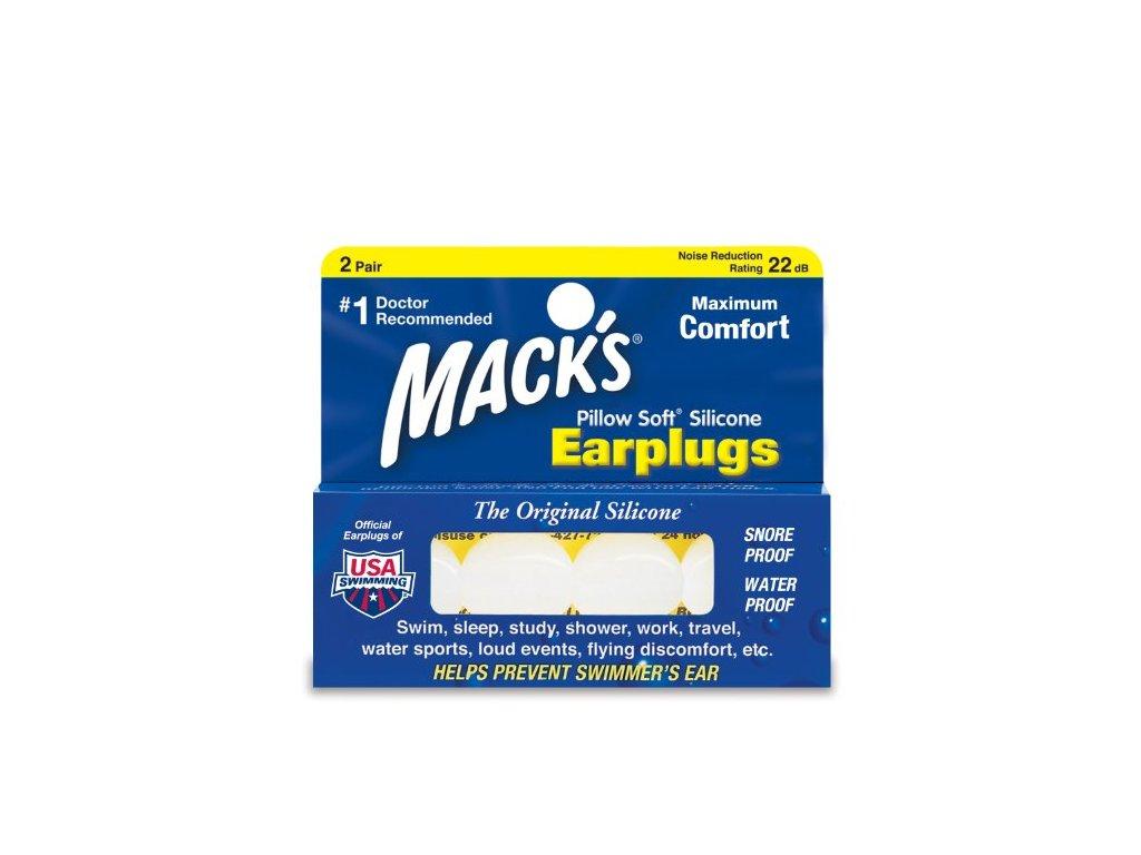 Macks PillowSoft 2 páry Silikonové špunty do uší Earplugs