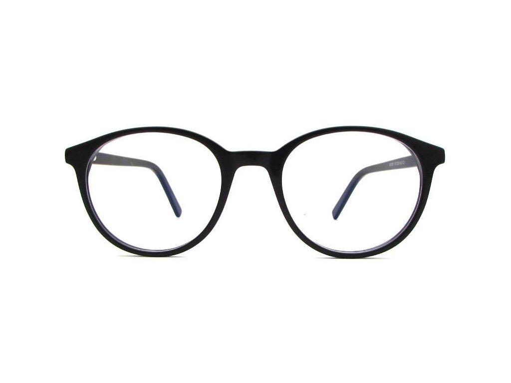 Brýle proti modrému světlu Toby černá průhledná skla zepředu