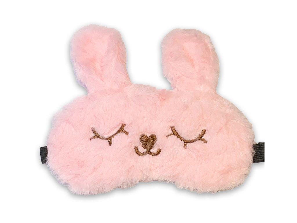 Maska na oči na spaní chlupatý růžový zajíček