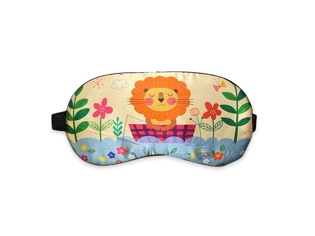 Maska na oči na spaní lev na vodě s kytkami