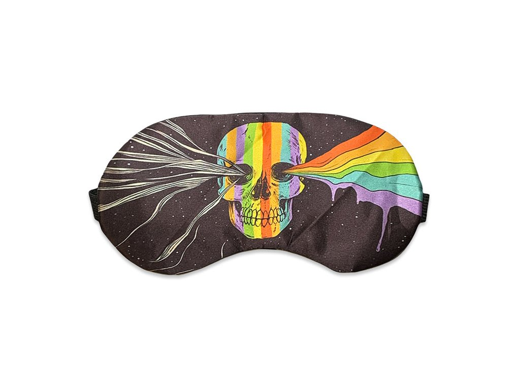 Maska na spaní duhová lebka