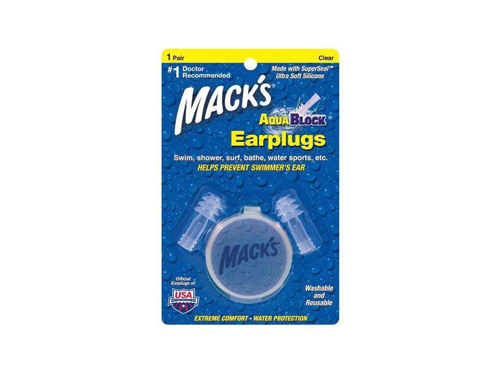 Mack's Aqua Block® 1 pár transparentní špunty do uší do vody