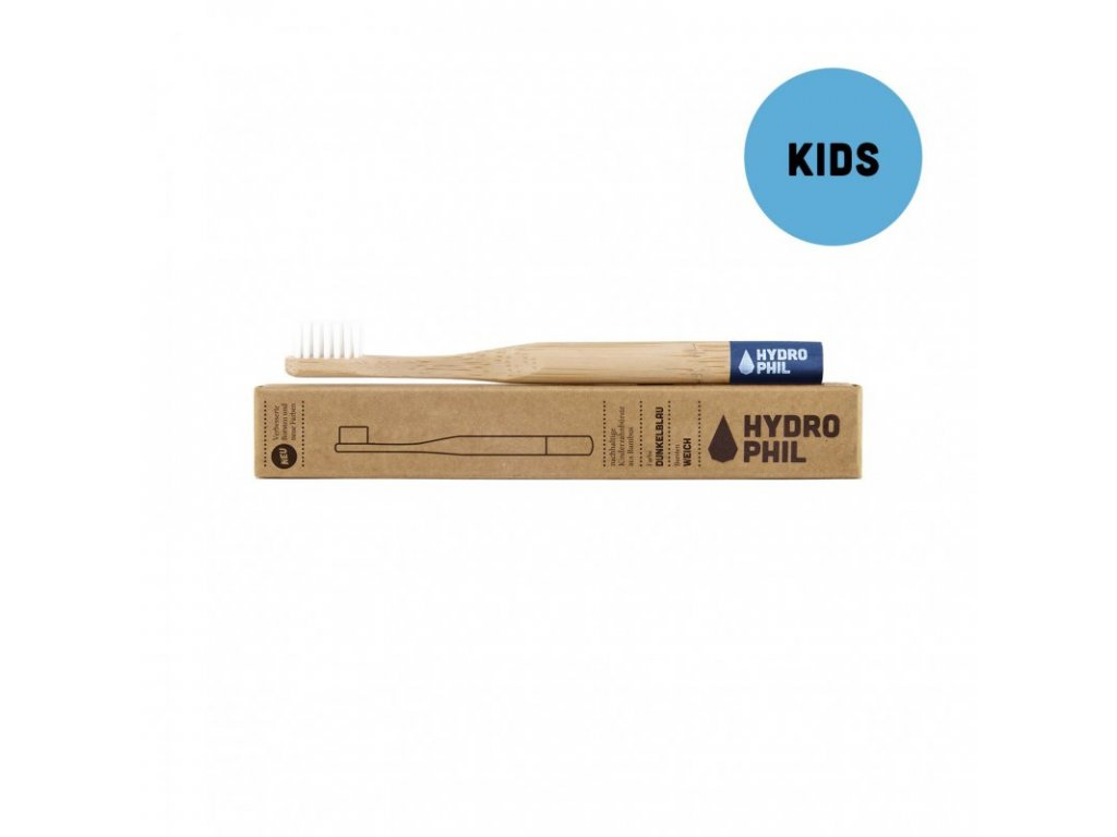 Hydrophil dětský dřevěný kartáček na zuby (soft) modrý