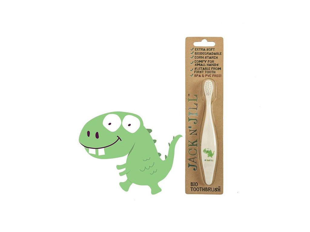 Jack N' Jill zubní kartáčky z kukuřičného škrobu pro děti Dino