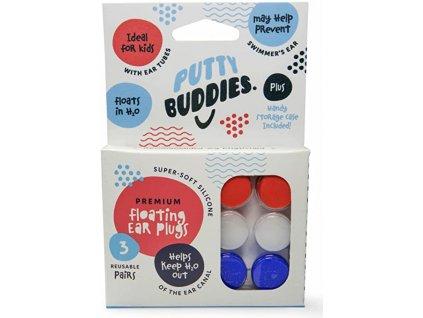 Putty Buddies - 3 páry  Plovoucí silikonové špunty do uší