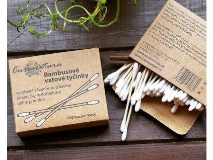 Curanatura Bambusové vatové tyčinky krabička 100 ks