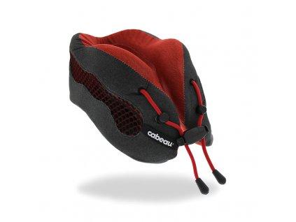 Cabeau Evolution Cool Červený cestovní polštář z paměťové pěny z úhlu