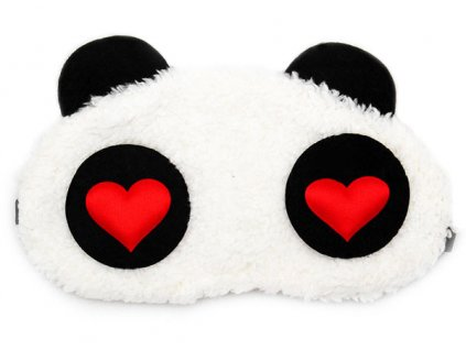 Panda Červené Srdce Maska na oči na spaní 2 Earplugs cz