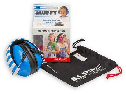Alpine Muffy Modrá Chrániče sluchu pro děti sluchátka Baleni Earplugs cz