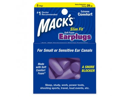 Macks Slim Fit 10 párů z měkké pěny špunty do uší Earplugs