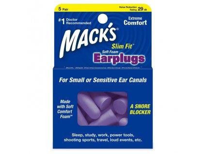 Macks Slim Fit 10 párů z měkké pěny špunty do uší Earplugs