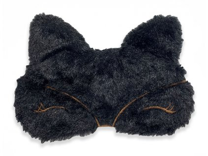 Maska na oči na spaní černá chlupatá kočka