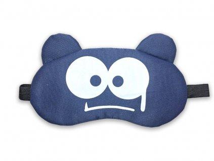 Dětská maska na oči na spaní Modrá strašidlo s chladící vložkou