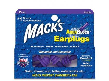 Mack's Aqua Block® 2 páry fialové špunty do uší na plavání