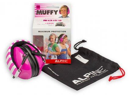 Alpine Muffy Růžová Chrániče sluchu pro děti sluchátka Obsah balení Earplugs cz