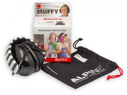 Alpine Muffy Černá Chrániče sluchu pro děti sluchátka obsah balení Earplugs cz